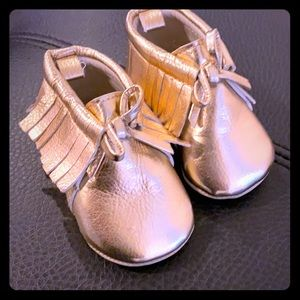 Baby soft gold moccasins